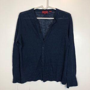 Hugo Boss V-Neck Button Down Cotton Blue Sweater